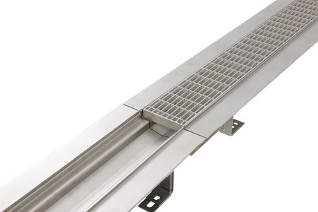 The stainless steel Parco channel comes in lengths of one, two or three metres as standard and can be further extended using connectors.  Custom dimensions can also be manufactured to the client's specification