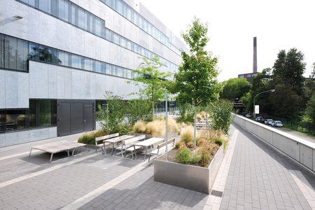 The plateau-like area at the back of the building was structured and landscaped with a total of 12 custom-made raised beds from Richard Brink GmbH & Co. KG.