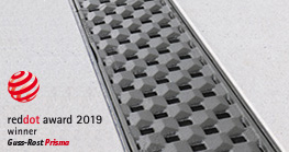 Strikingly special – the new heavy-duty cast-iron gratings from Richard Brink. Here we see the Prisma together with the Fortis concrete channel.
